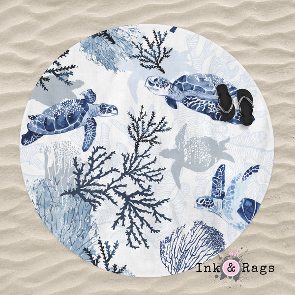 Blue Grey Sea Turtle Coral Beach Theme Round Beach Towel