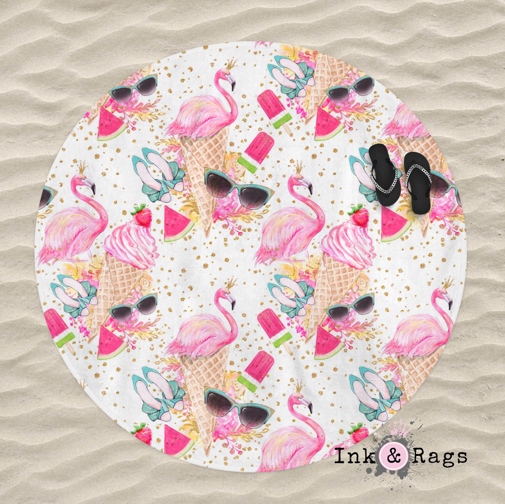 Flamingo Summer Gold Confetti Round Beach Towel
