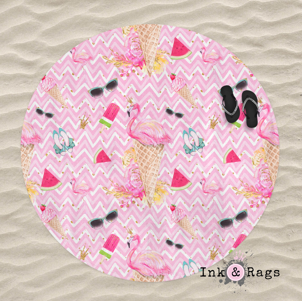 Flamingo Summer Pink Chevron Round Beach Towel