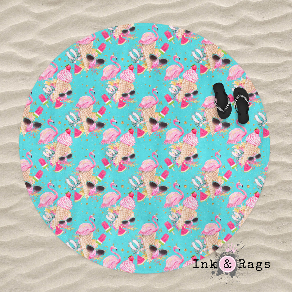 Flamingo Summer Turquoise Round Beach Towel