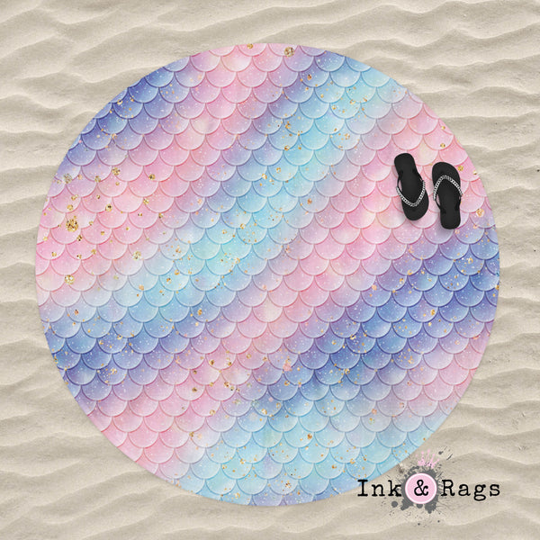 Pink Blue and Aqua Mermaid Scales Round Beach Towel