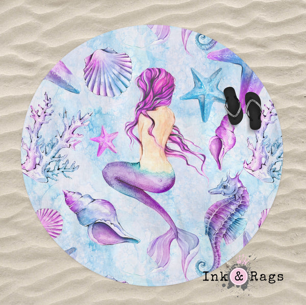 Purple Watercolor Mermaid Round Beach Towel