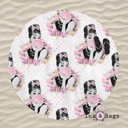 I love Pink Audrey Hepburn Breakfast at Tiffany Round Beach Towel