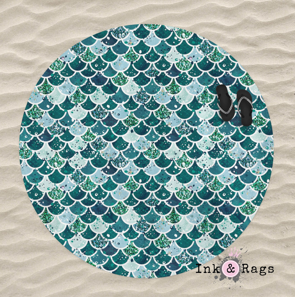 Emerald Mermaid Scales Round Beach Towel