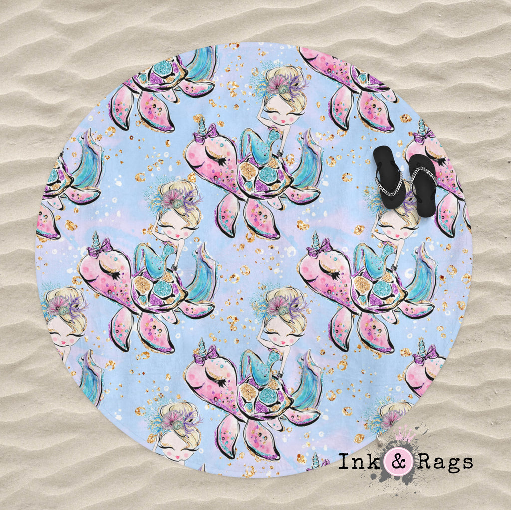 Mermaid Friends Turtle Unicorn Mermaid Round Beach Towel