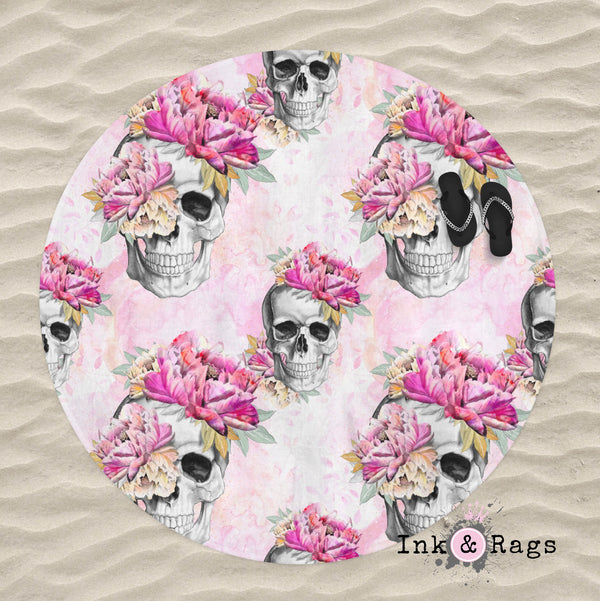 Pretty in Pink Skull Round Beach Towel