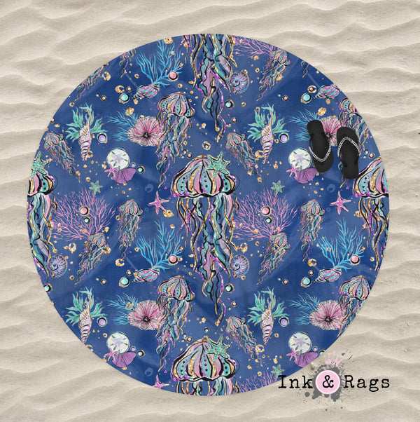 Deep Blue Jellyfish Round Beach Towel