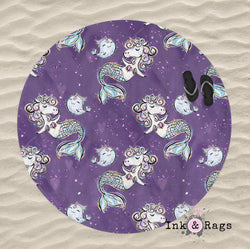 Purple Mermicorn and Narwhal Round Beach Towel