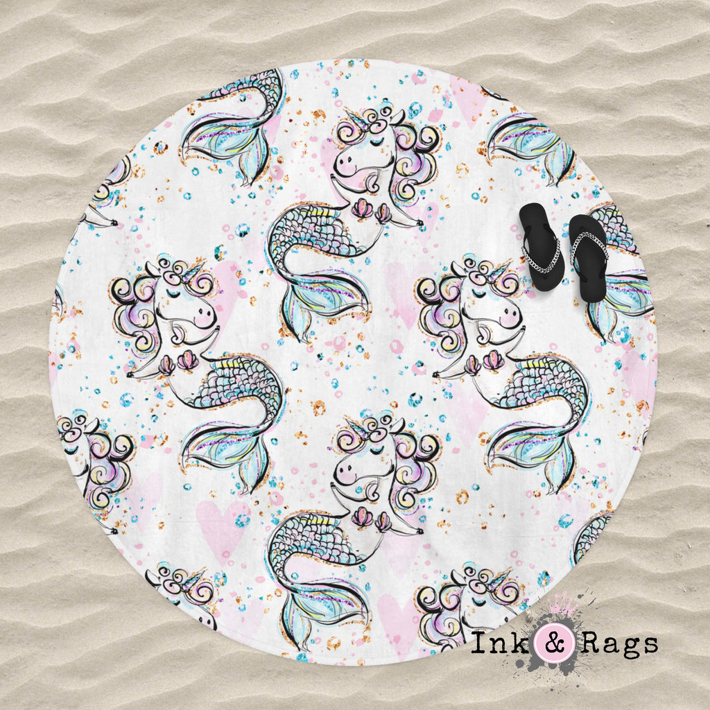 Pastel Mermicorn Round Beach Towel