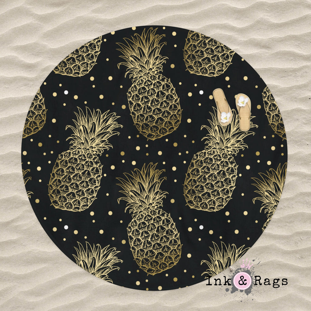 Black and Gold Pineapple Dot Round Beach Towel