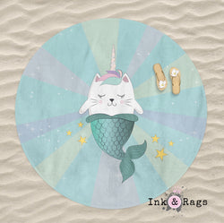 Caticorn Mermaid Round Beach Towel