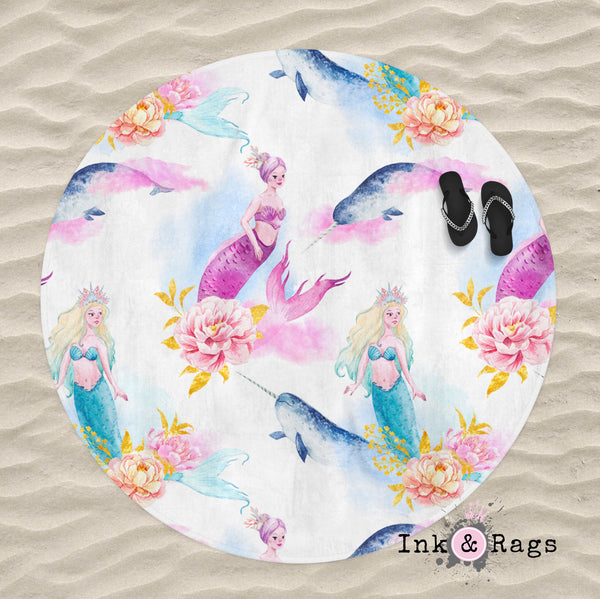 Watercolor Mermaid Narwhal and Peony Round Beach Towel