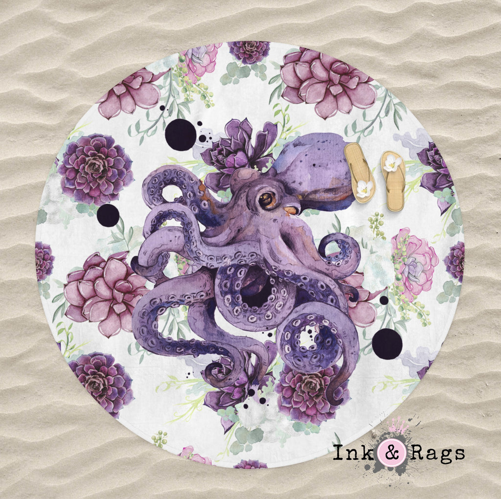 Succulent Octopus Ink Round Beach Towel