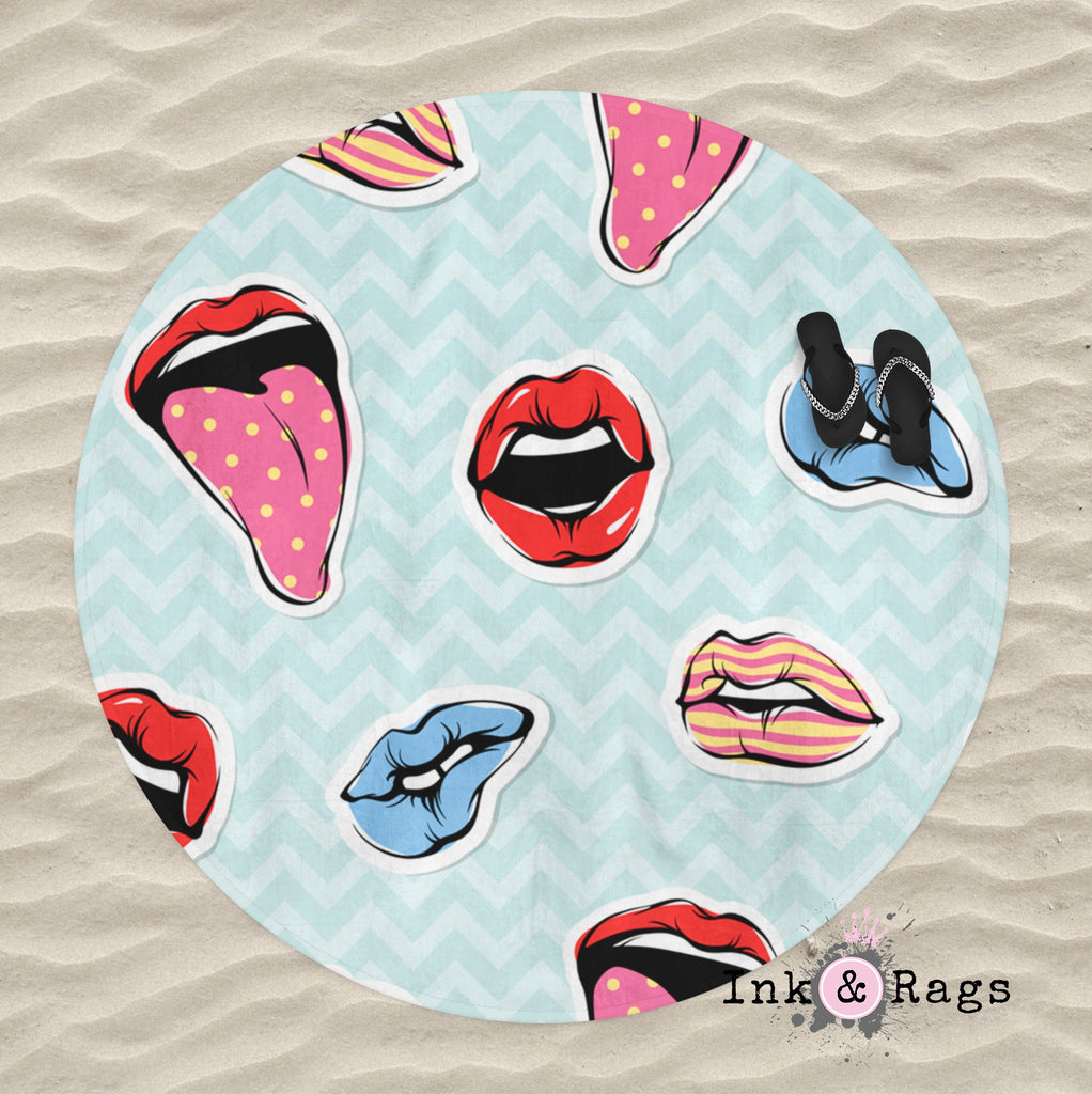 Pop Art Chevron Lips Round Beach Towel