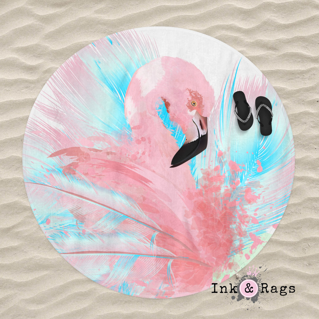 Watercolor Flamingo Round Beach Towel