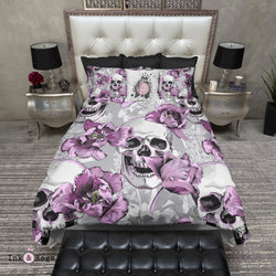 Violet and Grey Tulip and Skull Bedding