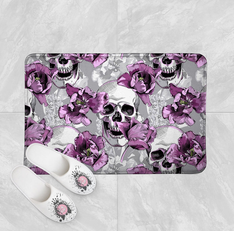 Violet and Grey Tulip and Skull Shower Curtain and Bath Mat