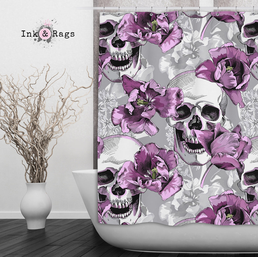 Violet and Grey Tulip and Skull Shower Curtains and Optional Bath Mats