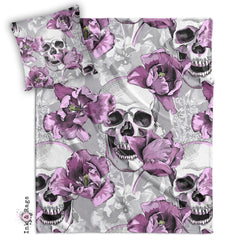 Violet and Grey Tulip and Skull Decorative Throw and Pillow Set