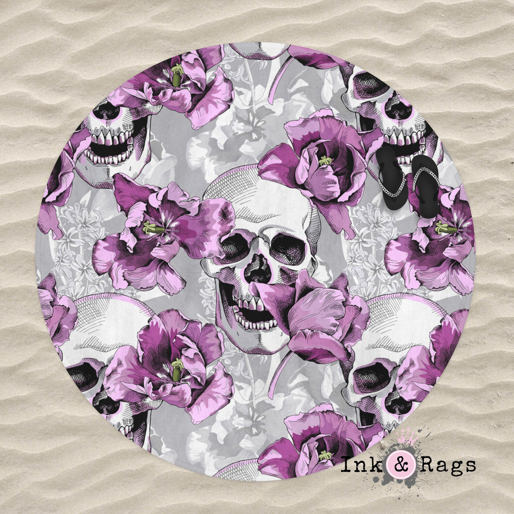 Violet and Grey Tulip and Skull Round Beach Towel