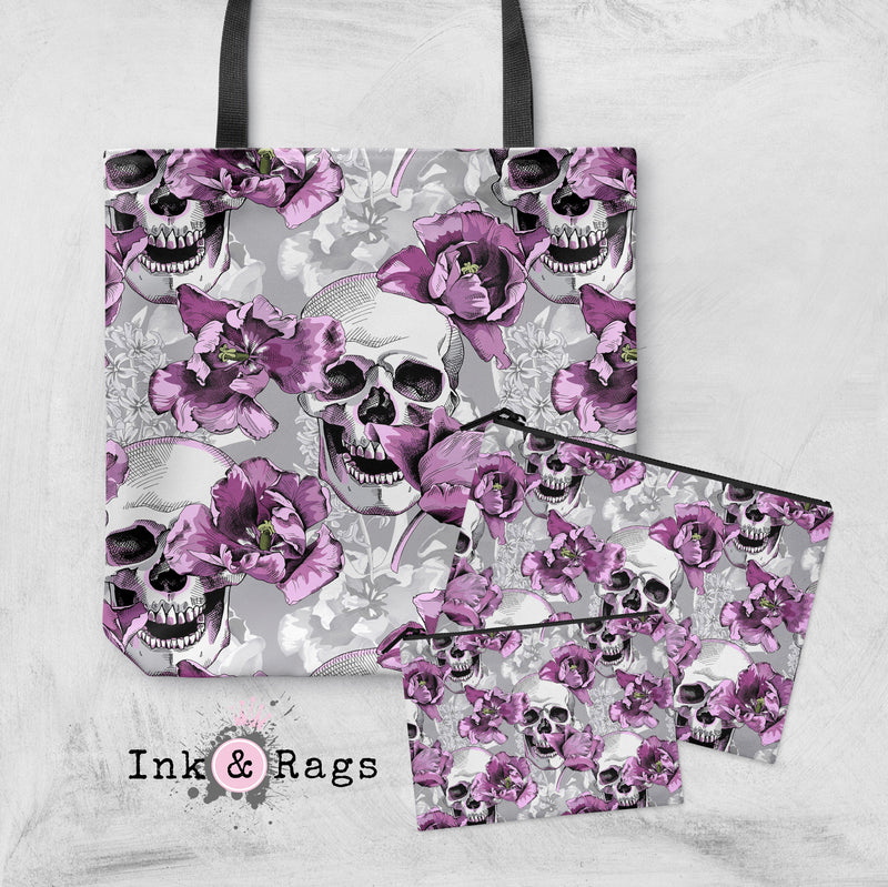 Violet and Grey Tulip and Skull Casual Tote OR Cosmetic Pouches