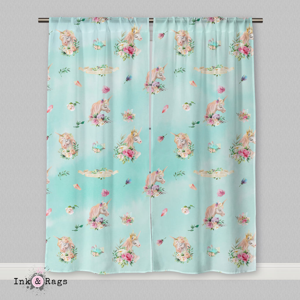 Over the Moon Unicorn Pegasus Dreams Blue Green Curtains