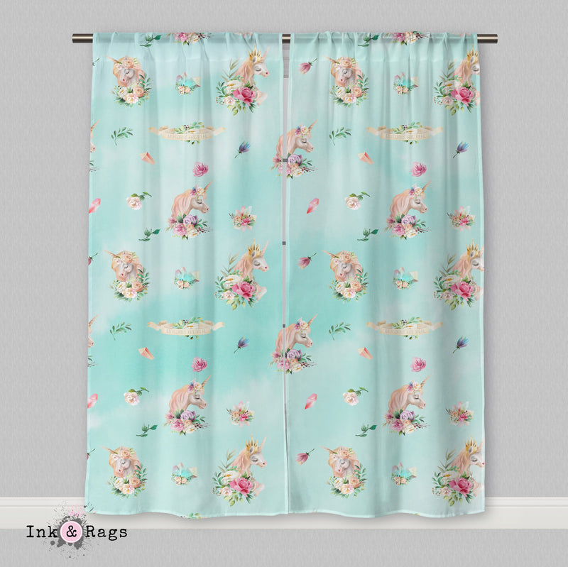 Over the Moon Unicorn Pegasus Dreams Blue Green Curtains or Sheers