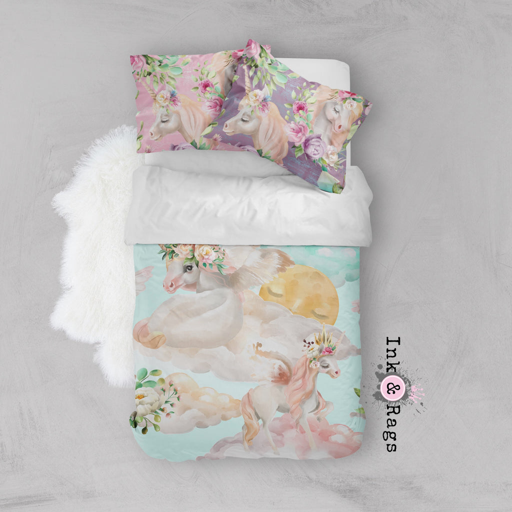 Over the Moon Unicorn Pegasus Dreams Crib and Toddler Bedding