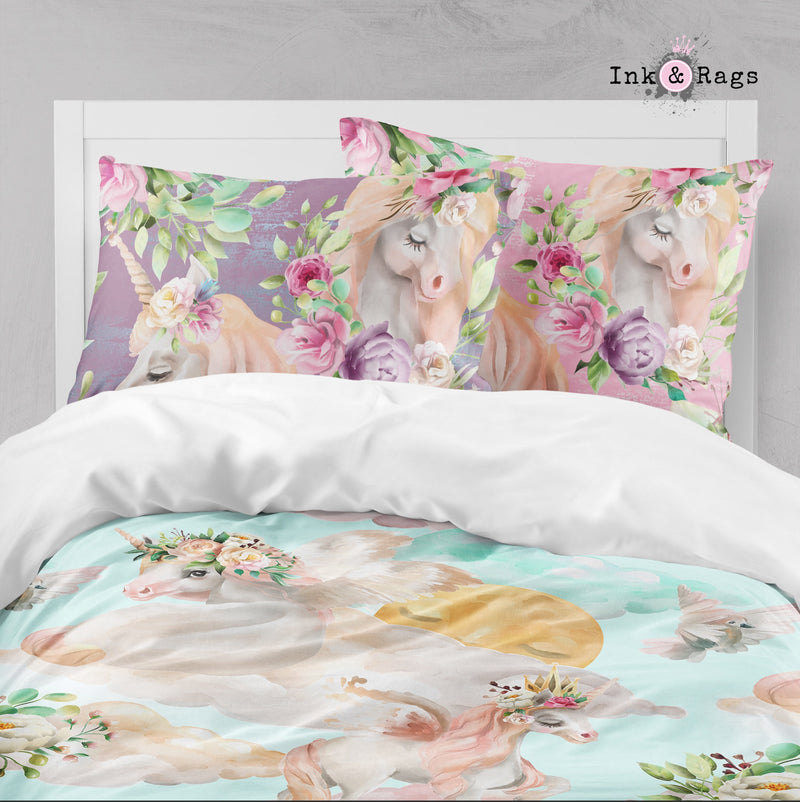 Over the Moon Unicorn Pegasus Dreams Crib and Toddler Size Comforter Sets