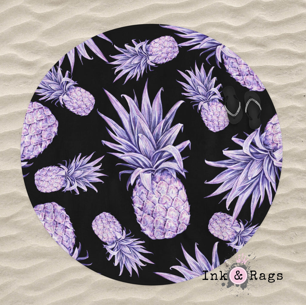 Purple Pineapple on Black Round Beach Towel
