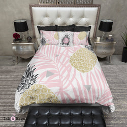 Pink Palm Geometric Pineapple Bedding