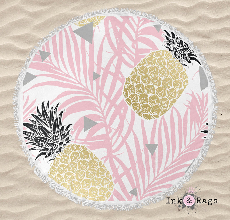 Pink Palm Geometric Pineapple Round Beach Towel