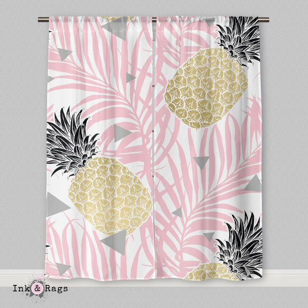Pink Palm Geometric Pineapple Curtains