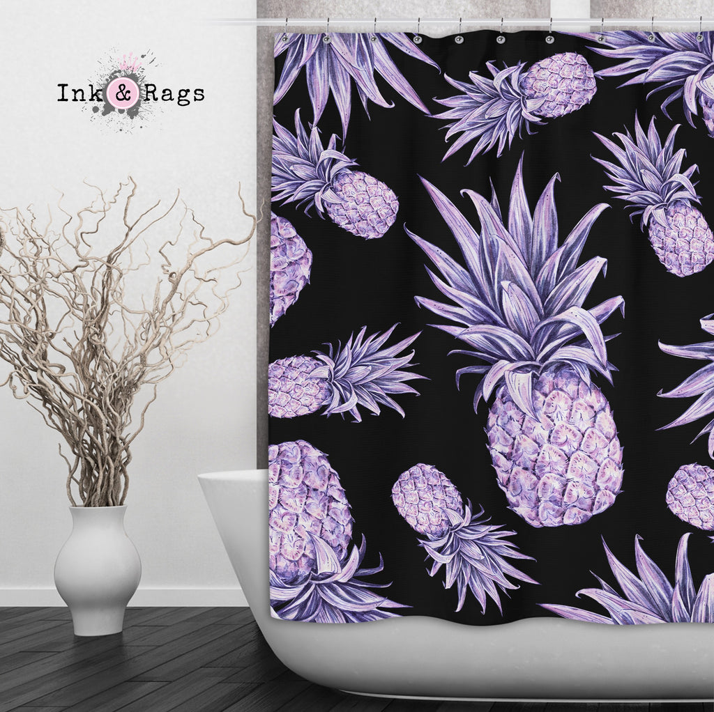 Purple Pineapple on Black Shower Curtains and Optional Bath Mats