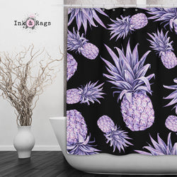 Purple Pineapple on Black Shower Curtain and Bath Mat