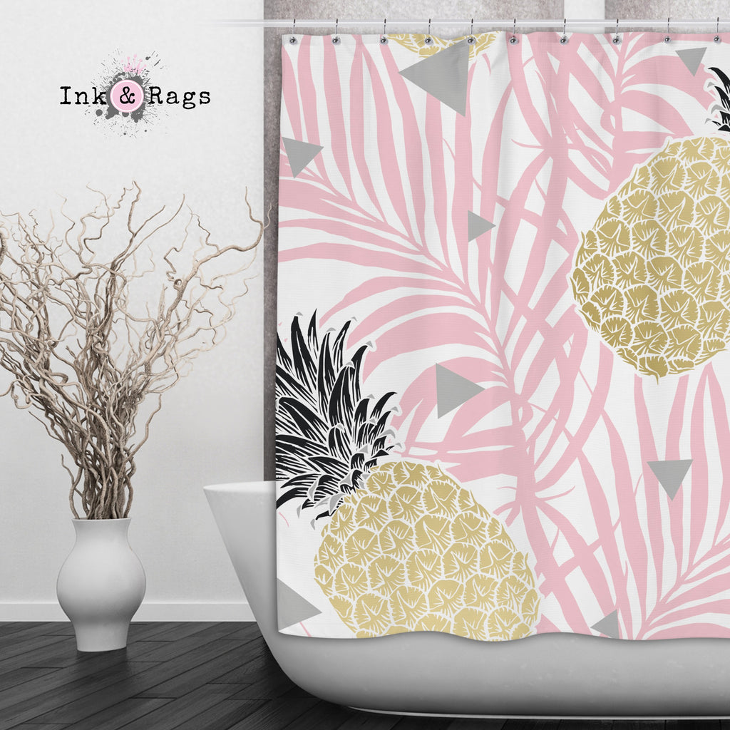 Pink Palm Geometric Pineapple Shower Curtains and Optional Bath Mats