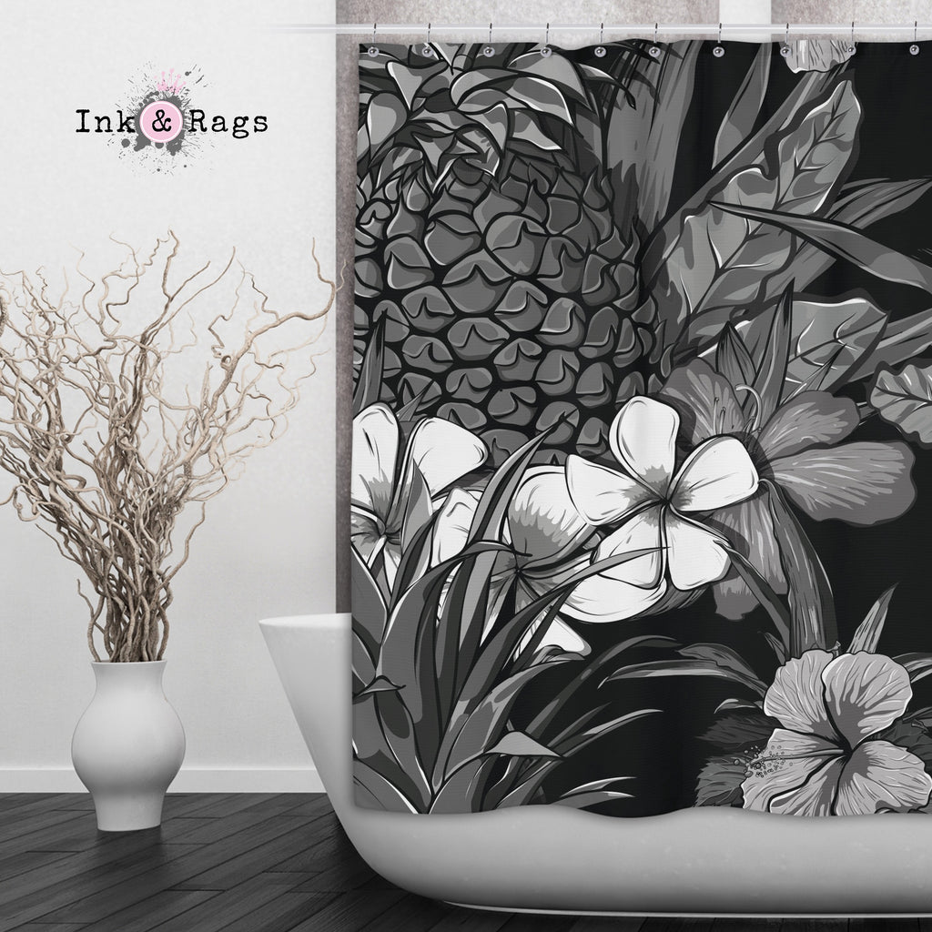 Black and White Tropical Pineapple Shower Curtains and Optional Bath Mats