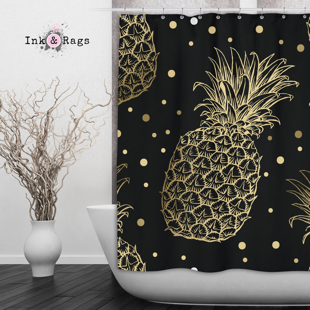 Black and Gold Pineapple Shower Curtains and Optional Bath Mats