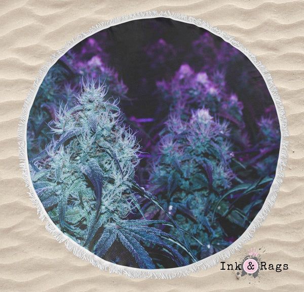 Purple Cannabis Marijuana Round Beach Towel