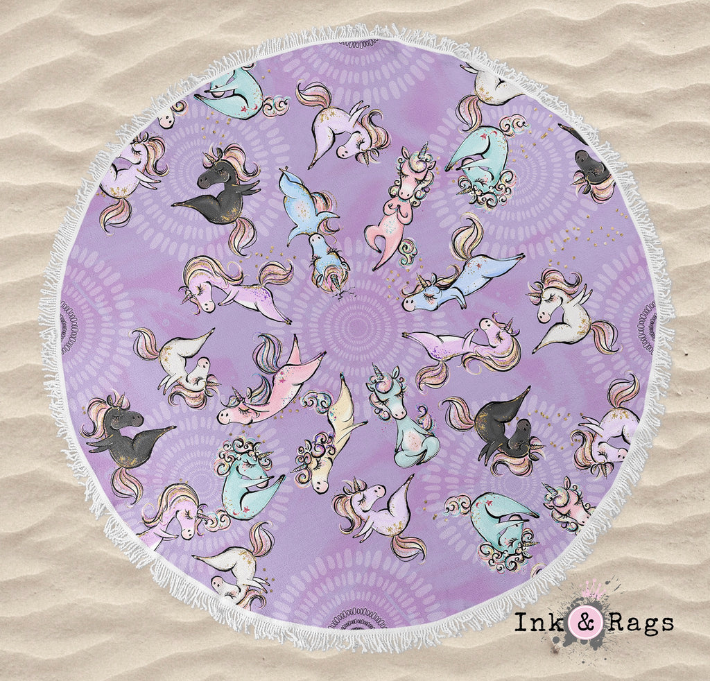 Zen Yoga Unicorns with Mandalas in Purple Round Beach Towel