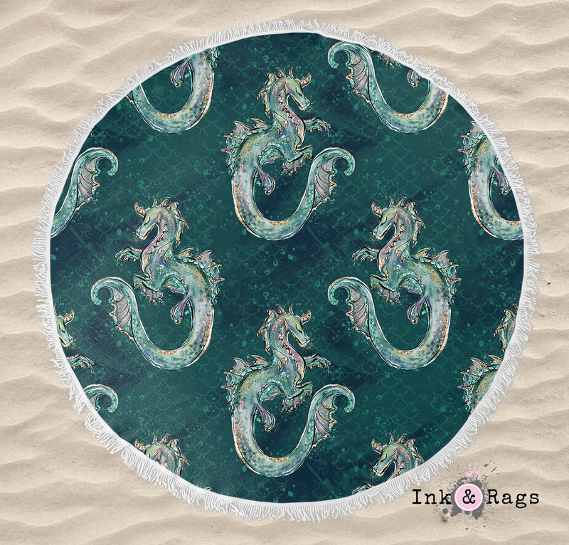 Emerald Dragon Round Beach Towel