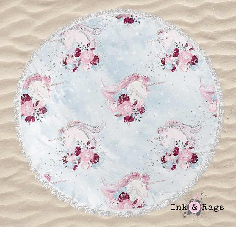 Fairytale Unicorn Rose Round Beach Towel