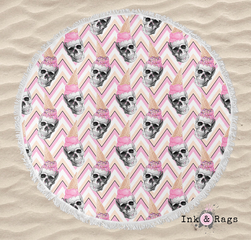 Ice Cream Skull Round Beach Towel