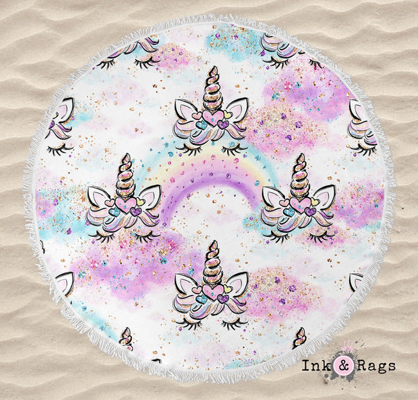 Unicorn Faces and Rainbows Round Beach Towel