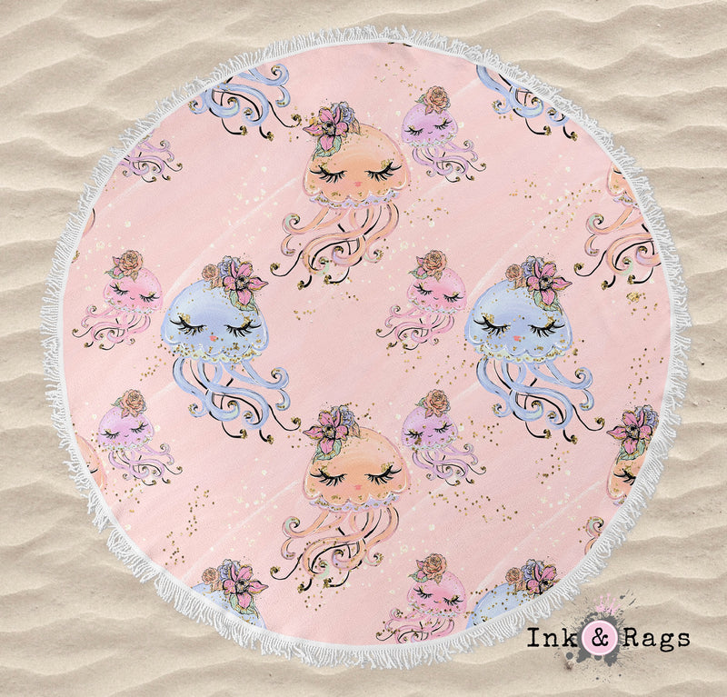 Peach Baby Octopus Round Beach Towel