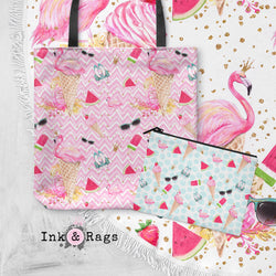 SAMPLE Flamingo Summer Round Beach Towel and Tote Summer Set
