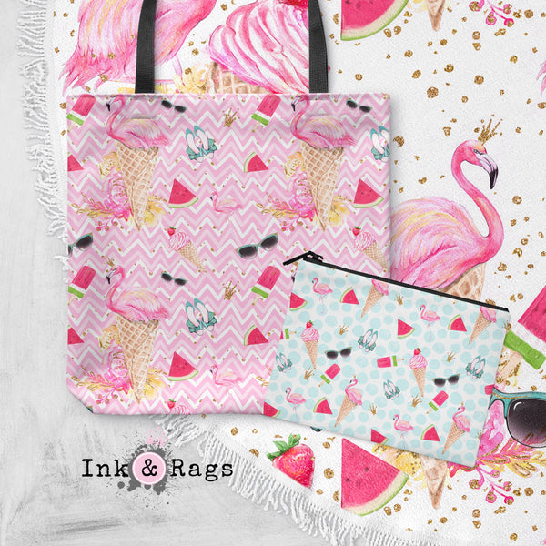 OVERSTOCK Flamingo Summer Round Beach Towel and Tote Summer Set