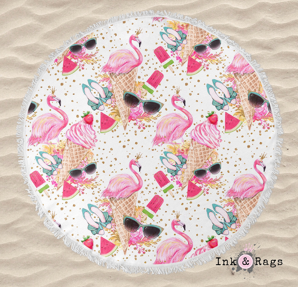 IN STOCK SAMPLE Flamingo Summer - Round Beach Towel and Tote Set