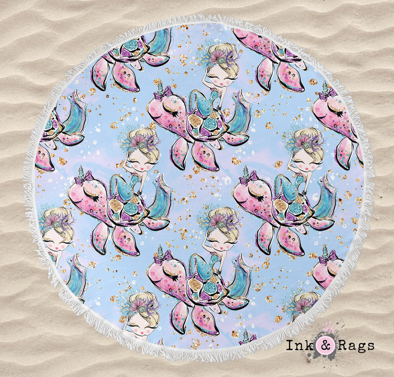 Mermaid Friends Turtle Seahorse Narwhal Merkitty Round Beach Towel and Tote Summer Set