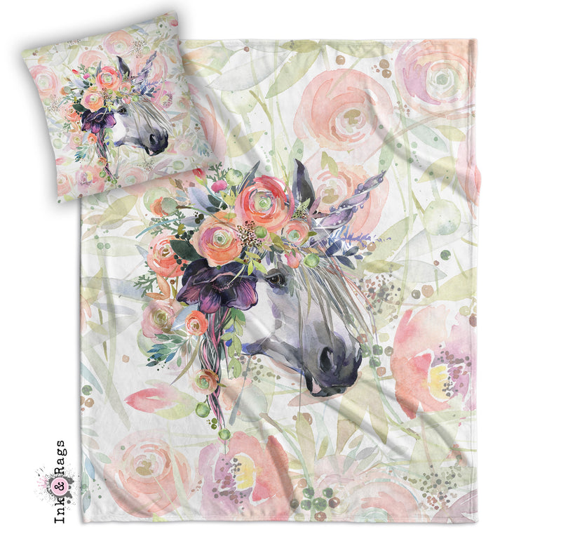 Spring Flower Watercolor Unicorn Decorative Throw and Pillow Set